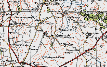 Old map of Callestick in 1919