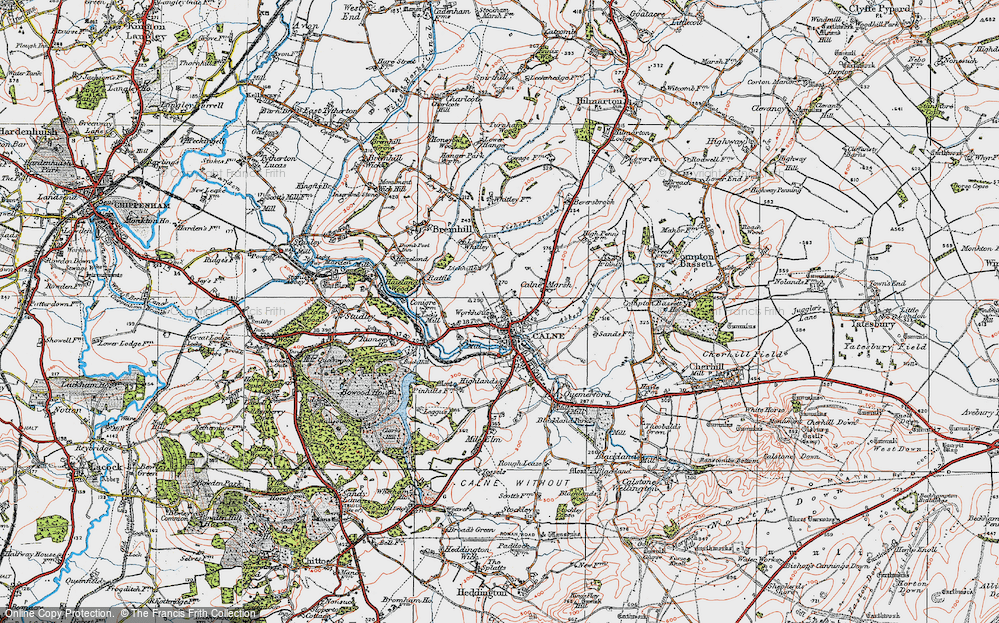 Old Map of Map of Calne