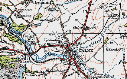 Old map of Calne in 1919