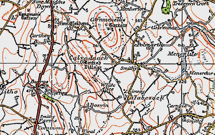 Old map of Calvadnack in 1919
