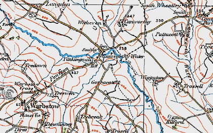 Old map of Canworthy Water in 1919