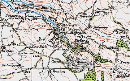 Old map of Carloggas in 1919