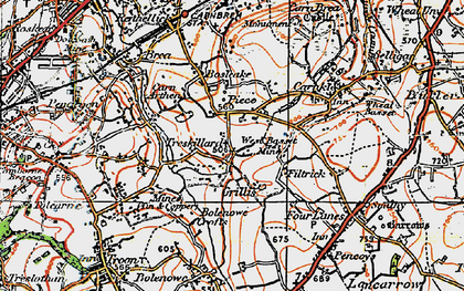 Old map of Carn Arthen in 1919