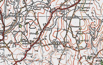Old map of Carnebone in 1919