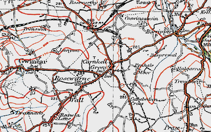 Old map of Carnhell Green in 1919