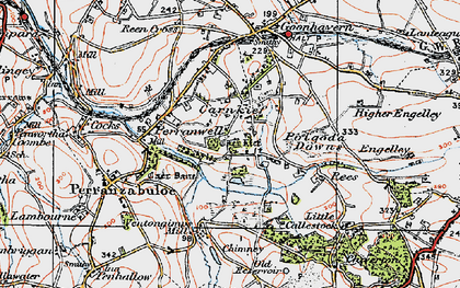 Old map of Carnkief in 1919
