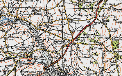 Old map of Carnon Downs in 1919
