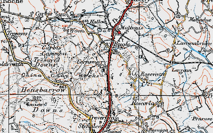 Old map of Carnsmerry in 1919