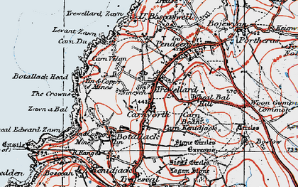 Old map of Carnyorth in 1919