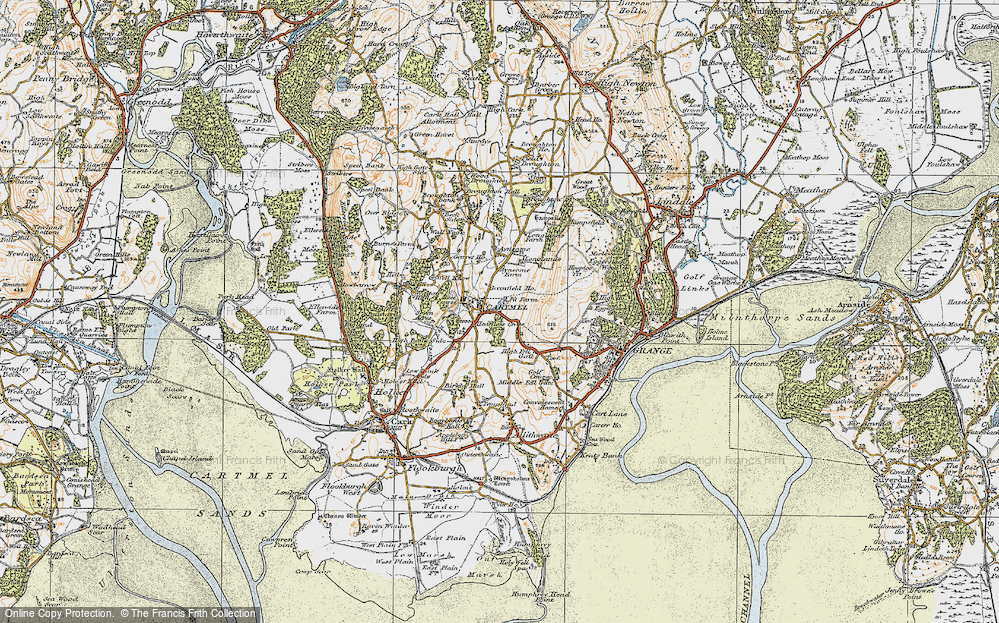 Old Map of Map of Cartmel in 1925
