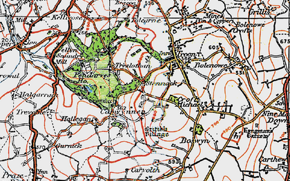 Old map of Carwynnen in 1919