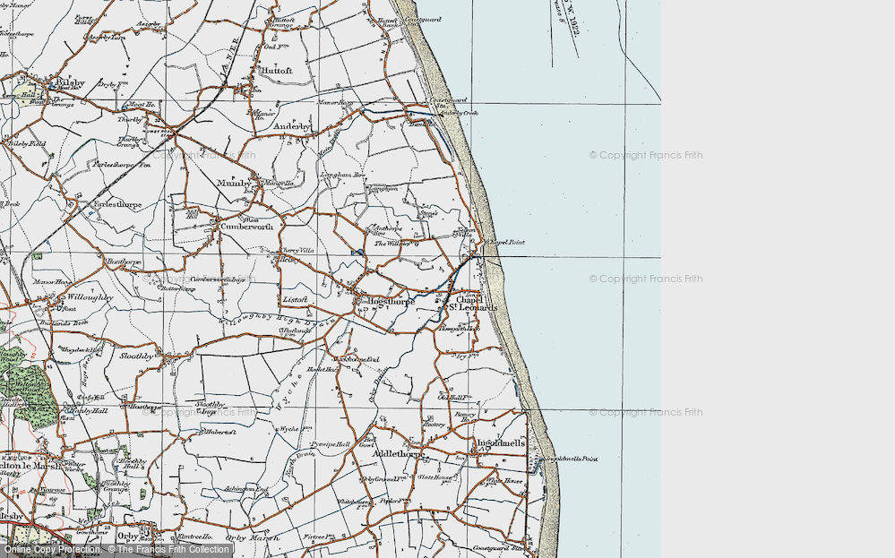 Old Map of Map of Chapel St Leonards in 1923