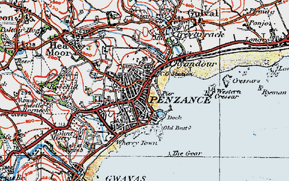Old map of Chyandour in 1919