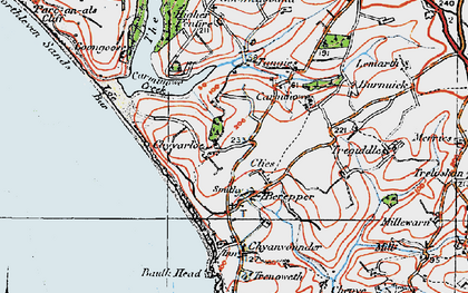 Old map of Chyvarloe in 1919