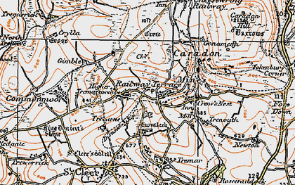 Old map of Darite in 1919