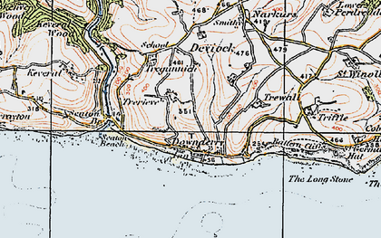 Old map of Downderry in 1919