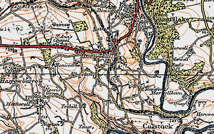 Old map of Drakewalls in 1919