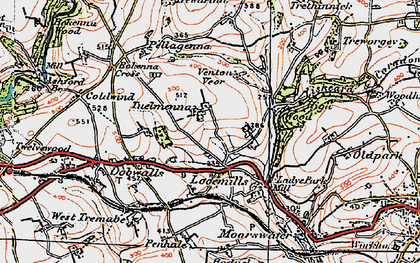 Old map of East Tuelmenna in 1919