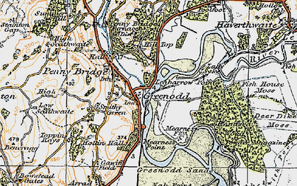 Old map of Greenodd in 1925