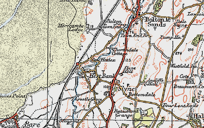 Old map of Hest Bank in 1924