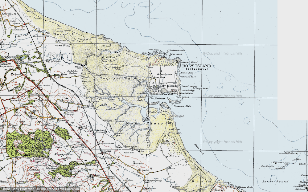Old Map of Map of Holy Island