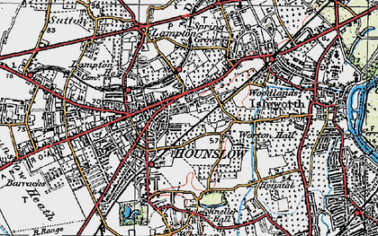 Old map of Hounslow in 1920