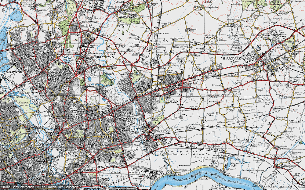 Old Map of Map of Ilford in 1920
