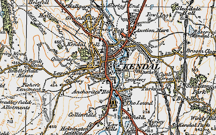 Old map of Kendal in 1925