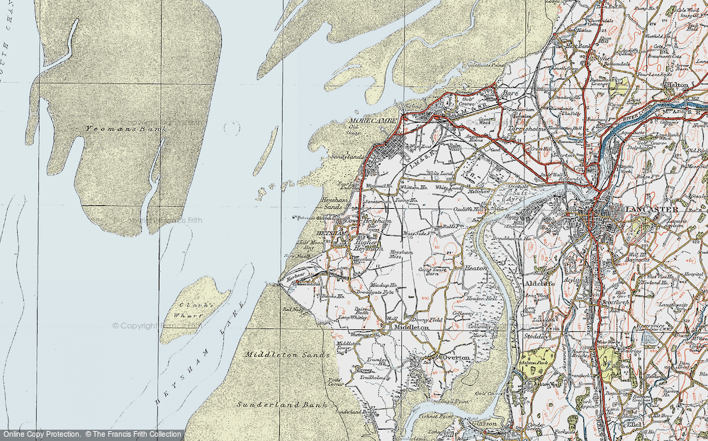 Old Map of Map of Lower Heysham in 1924