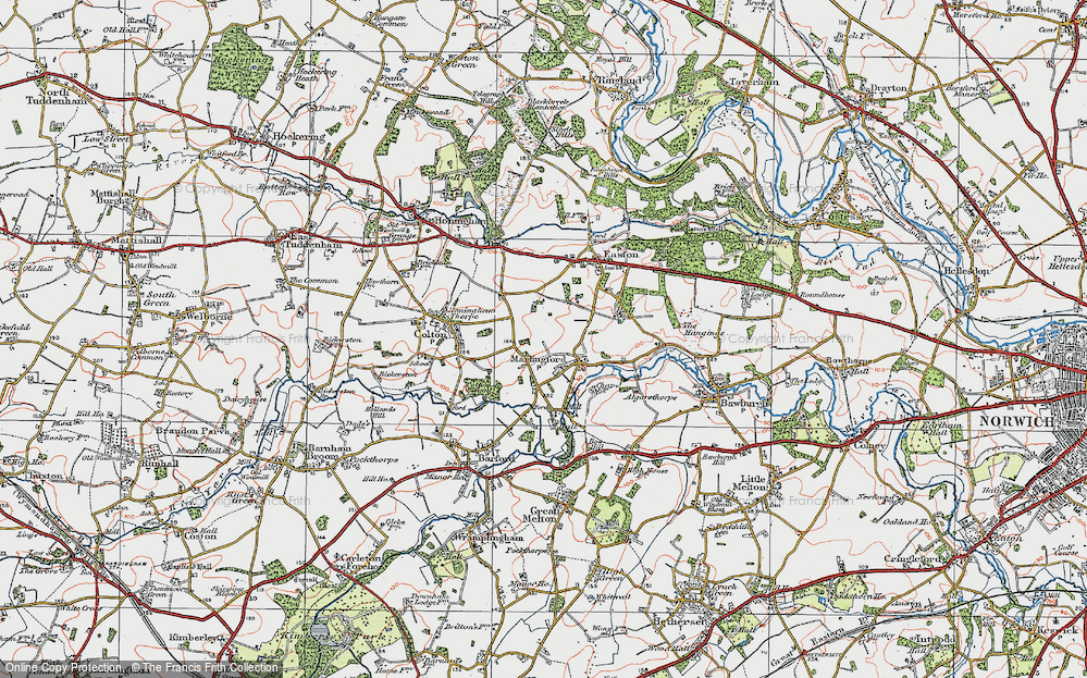 Old Map of Map of Marlingford in 1922