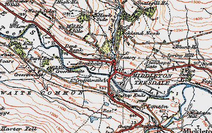 Old map of Middleton in Teesdale in 1925