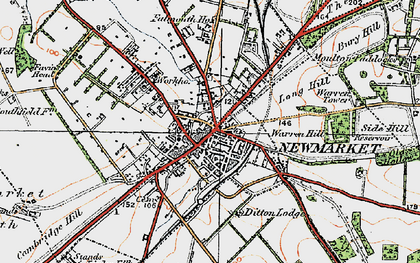 Old map of Newmarket in 1920