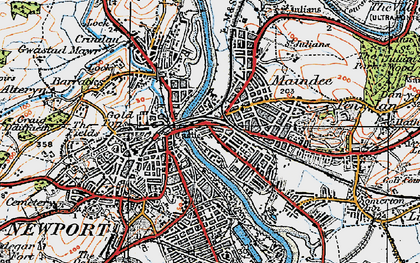 Old map of Newport in 1919