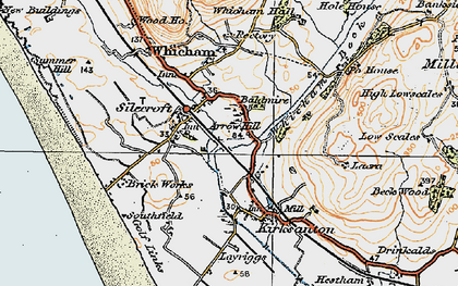 Old map of Silecroft in 1925