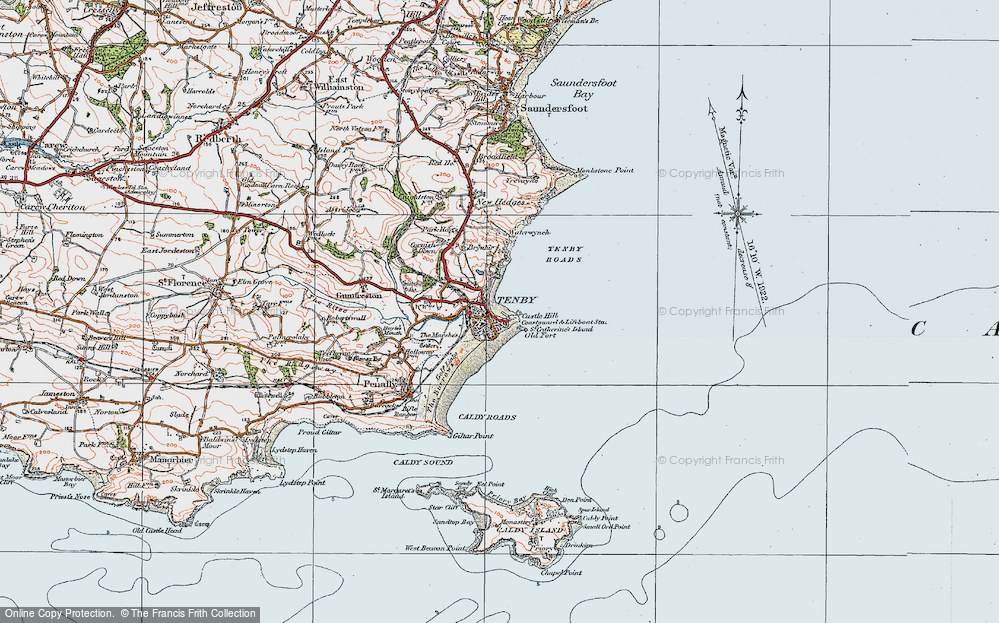 Old Map of Map of Tenby in 1922