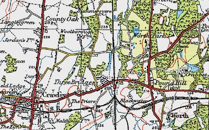 Old map of Three Bridges in 1920