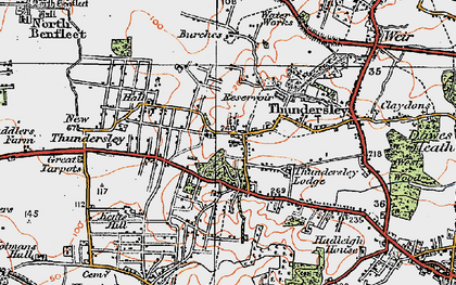 Old map of Thundersley in 1921