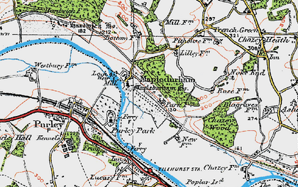 Old map of Mapledurham in 1919