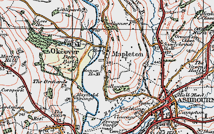 Old map of Mapleton in 1921