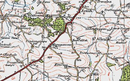 Old map of Marazanvose in 1919