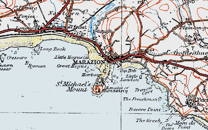 Old map of St Michael's Mount in 1919