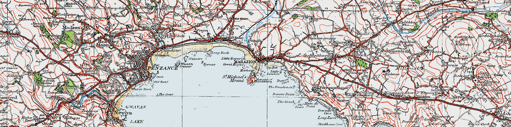 Old map of Marazion in 1919
