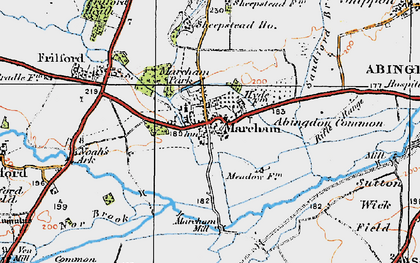 Old map of Abingdon Common in 1919