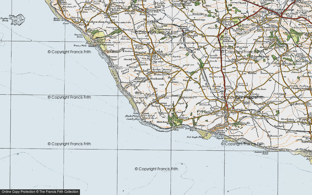 Old Map of Historic Map covering Lan-Farm in 1922