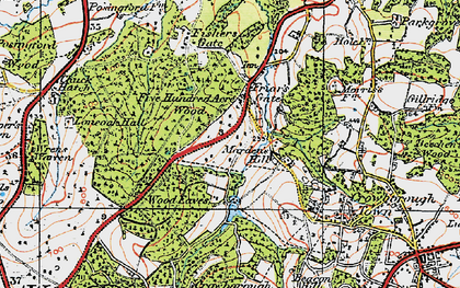 Old map of Wood Eaves in 1920