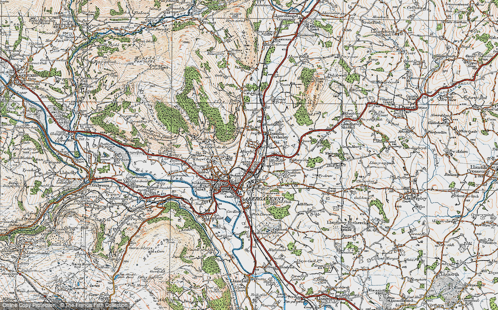 Old Map of Historic Map covering Afon Gafenni in 1919