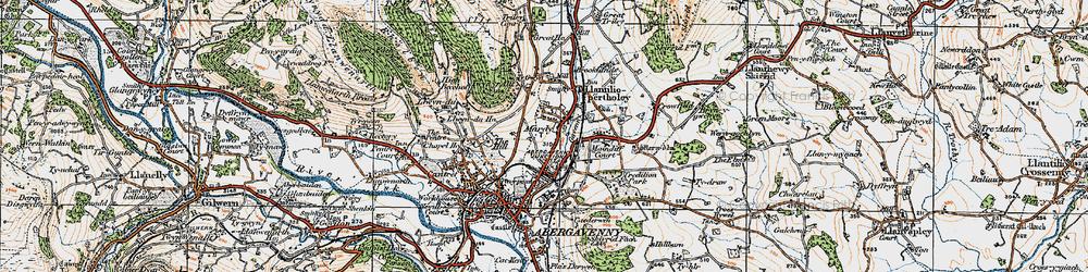 Old map of Afon Gafenni in 1919