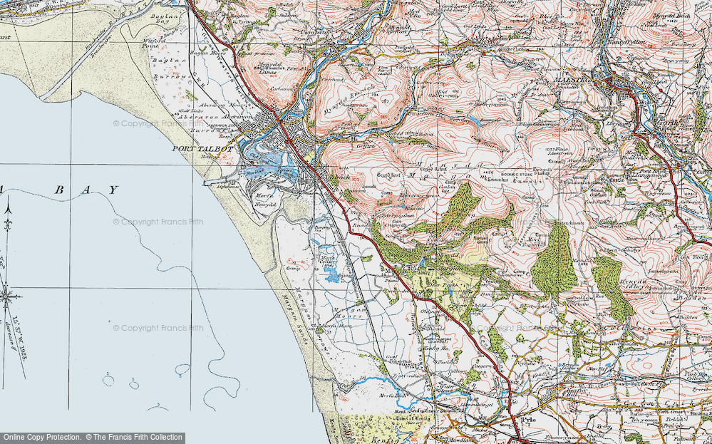 Old Map of Margam, 1922 in 1922