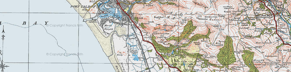 Old map of Margam in 1922