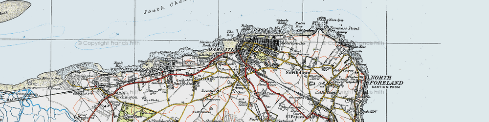 Old map of Margate in 1920
